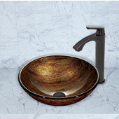 16-1/2''Dia. Amber Sunset Glass Vessel Sink and Linus Faucet Set in Antique Rubbed Bronze Finish