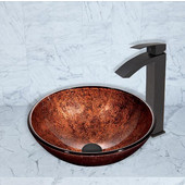 16-1/2''Dia. Mahogany Moon Glass Vessel Sink and Duris Faucet Set in Matte Black Finish