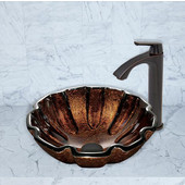 16-1/2''Dia. Walnut Shell Glass Vessel Sink and Linus Faucet Set in Antique Rubbed Bronze Finish