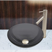 16-1/2''Dia. Sheer Black Glass Vessel Sink and Dior Faucet Set in Brushed Nickel Finish
