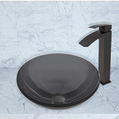 16-1/2''Dia. Sheer Black Glass Vessel Sink and Duris Faucet Set in Matte Black Finish