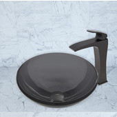 16-1/2''Dia. Sheer Black Glass Vessel Sink and Blackstonian Faucet Set in Matte Black Finish