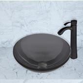 16-1/2''Dia. Sheer Black Glass Vessel Sink and Otis Faucet Set in Matte Black Finish