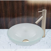 16-1/2''Dia. White Frost Glass Vessel Sink and Dior Faucet Set in Brushed Nickel Finish