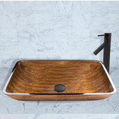 16-1/2''Dia. Rectangular Amber Sunset Glass Vessel Sink and Dior Faucet Set in Antique Rubbed Bronze Finish