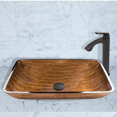 16-1/2''Dia. Rectangular Amber Sunset Glass Vessel Sink and Linus Faucet Set in Antique Rubbed Bronze Finish