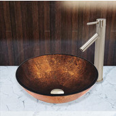 16-1/2''Dia. Russet Glass Vessel Sink and Dior Faucet Set in Brushed Nickel Finish