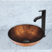 16-1/2''Dia. Russet Glass Vessel Sink and Seville Faucet Set in Matte Black Finish