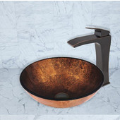 16-1/2''Dia. Russet Glass Vessel Sink and Blackstonian Faucet Set in Antique Rubbed Bronze Finish