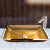 22-1/4''Dia. Rectangular Copper Glass Vessel Sink and Duris Faucet Set in Brushed Nickel Finish