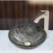 16-1/2''Dia. Titanium Glass Vessel Sink and Linus Faucet Set in Brushed Nickel Finish