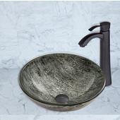 16-1/2''Dia. Titanium Glass Vessel Sink and Otis Faucet Set in Matte Black Finish