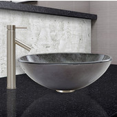 16-1/2''Dia. Gray Onyx Glass Vessel Sink and Dior Faucet Set in Brushed Nickel Finish