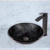 16-1/2''Dia. Gray Onyx Glass Vessel Sink and Duris Faucet Set in Matte Black Finish