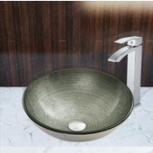 16-1/2''Dia. Simply Silver Glass Vessel Sink and Duris Faucet Set in Chrome
