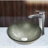 16-1/2''Dia. Simply Silver Glass Vessel Sink and Blackstonian Faucet Set in Chrome