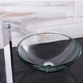 16-1/2''Dia. Crystalline Glass Vessel Sink and Duris Vessel Faucet Set in a Chrome Finish