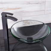 16-1/2''Dia. Crystalline Glass Vessel Sink and Duris Vessel Faucet Set in a Matte Black Finish