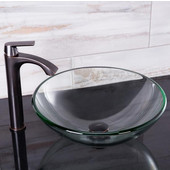16-1/2''Dia. Crystalline Glass Vessel Sink and Linus Vessel Faucet Set in a Antique Rubbed Bronze Finish