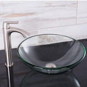 16-1/2''Dia. Crystalline Glass Vessel Sink and Linus Vessel Faucet Set in a Brushed Nickel Finish