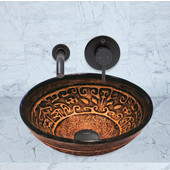 16-1/2''Dia. Golden Greek Glass Vessel Sink and Olus Wall Mount Faucet Set in Antique Rubbed Bronze Finish