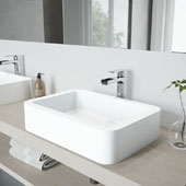 Petunia Matte Stone Vessel Bathroom Sink Set with Pop-Up Drain and Amada Faucet in Chrome, 23'' W x 16'' D x 5-3/8'' H