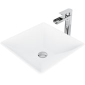 Hibiscus Matte Stone Vessel Bathroom Sink Set with Pop-Up Drain and Amada Faucet in Chrome, 16'' W x 16'' D x 4-3/4'' H