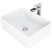 Amaryllis Matte Stone Vessel Bathroom Sink Set with Pop-Up Drain and Amada Faucet in Chrome, 19-5/8'' W x 14-1/2'' D x 6-1/8'' H