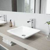 Begonia Matte Stone Vessel Bathroom Sink Set with Amada Faucet in Chrome, 16-5/8'' W x 16-5/8'' D x 3-1/2'' H