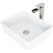 Marigold Matte Stone Vessel Bathroom Sink Set with Pop-Up Drain and Amada Faucet in Brushed Nickel, 17-3/4'' W x 14-3/8'' D x 5'' H