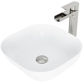 Camellia Matte Stone Vessel Bathroom Sink Set with Pop-Up Drain and Amada Faucet in Brushed Nickel, 14-3/8'' W x 14-3/8'' D x 4-1/2'' H