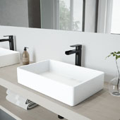 Magnolia Matte Stone Vessel Bathroom Sink Set with Amada Faucet in Matte Black, 21-1/4'' W x 13-1/16'' D x 4-3/4'' H
