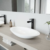 Wisteria Matte Stone Vessel Bathroom Sink Set with Amada Faucet in Matte Black, 23'' W x 13-5/8'' D x 4'' H
