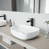 Peony Matte Stone Vessel Bathroom Sink Set with Amada Faucet in Matte Black, 20-1/4'' W x 15-1/2'' D x 5'' H