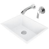 Vinca Matte Stone Vessel Bathroom Sink Set with Pop-Up Drain and Aldous Wall Mount Faucet in Chrome, 18-1/8'' W x 13-3/4'' D x 4-1/2'' H
