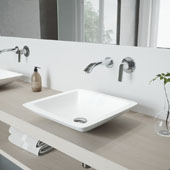 Begonia Matte Stone Vessel Bathroom Sink Set with Aldous Wall Mount Faucet in Chrome, 16-5/8'' W x 16-5/8'' D x 3-1/2'' H