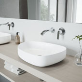Peony Matte Stone Vessel Bathroom Sink Set with Aldous Wall Mount Faucet in Chrome, 20-1/4'' W x 15-1/2'' D x 5'' H