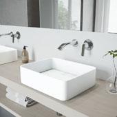 Jasmine Matte Stone Vessel Bathroom Sink Set with Aldous Wall Mount Faucet in Chrome, 18'' W x 14-1/2'' D x 5'' H
