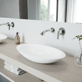 Wisteria Matte Stone Vessel Bathroom Sink Set with Aldous Wall Mount Faucet in Brushed Nickel, 23'' W x 13-5/8'' D x 4'' H