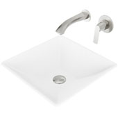 Hibiscus Matte Stone Vessel Bathroom Sink Set with Pop-Up Drain and Aldous Wall Mount Faucet in Brushed Nickel, 16'' W x 16'' D x 4-3/4'' H