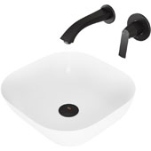 Camellia Matte Stone Vessel Bathroom Sink Set with Pop-Up Drain and Aldous Wall Mount Faucet in Matte Black, 14-3/8'' W x 14-3/8'' D x 4-1/2'' H