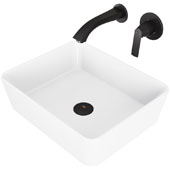 Marigold Matte Stone Vessel Bathroom Sink Set with Pop-Up Drain and Aldous Wall Mount Faucet in Matte Black, 17-3/4'' W x 14-3/8'' D x 5'' H