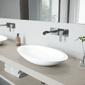 Wisteria Matte Stone Vessel Bathroom Sink Set with Cornelius Wall Mount Faucet in Chrome, 23'' W x 13-5/8'' D x 4'' H