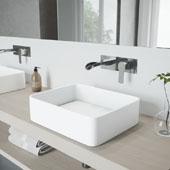 Jasmine Matte Stone Vessel Bathroom Sink Set with Cornelius Wall Mount Faucet in Chrome, 18'' W x 14-1/2'' D x 5'' H