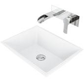 Vinca Matte Stone Vessel Bathroom Sink Set with Pop-Up Drain and Cornelius Wall Mount Faucet in Chrome, 18-1/8'' W x 13-3/4'' D x 4-1/2'' H