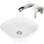 Camellia Matte Stone Vessel Bathroom Sink Set with Pop-Up Drain and Cornelius Wall Mount Bathroom Faucet in Brushed Nickel, 14-3/8'' W x 14-3/8'' D x 4-1/2'' H