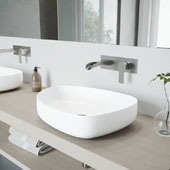 Peony Matte Stone Vessel Bathroom Sink Set with Cornelius Wall Mount Bathroom Faucet in Brushed Nickel, 20-1/4'' W x 15-1/2'' D x 5'' H