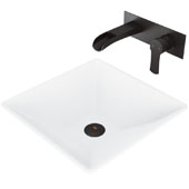 Hibiscus Matte Stone Vessel Bathroom Sink Set with Pop-Up Drain and Cornelius Wall Mount Bathroom Faucet in Matte Black, 16'' W x 16'' D x 4-3/4'' H