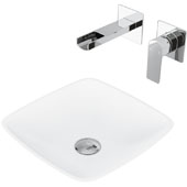 Hyacinth Matte Stone Vessel Bathroom Sink Set with Pop-Up Drain and Atticus Wall Mount Faucet in Chrome, 13-3/4'' W x 13-3/4'' D x 4'' H