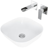 Camellia Matte Stone Vessel Bathroom Sink Set with Pop-Up Drain and Atticus Wall Mount Faucet in Chrome, 14-3/8'' W x 14-3/8'' D x 4-1/2'' H
